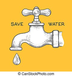 Water tap with drop engraving style vector