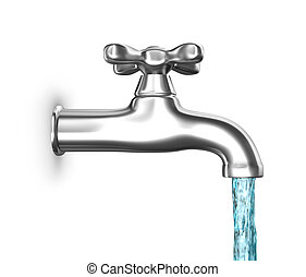 Water tap with flowing water