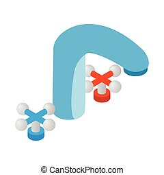Water tap with knob isometric 3d icon
