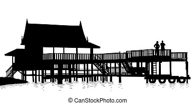 Water terrace - Editable vector silhouette of an extensive...