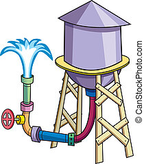 Water Tower - A cartoon water tower, gushing with...