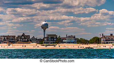 Water tower and beach houses on the Atlantic shore in Point Pleasant Beach, New Jersey.