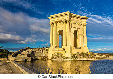 Water tower at the end of aqueduct in Montpellier, France