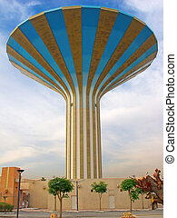 Water tower - Famous striped water tower in the Riyadh city,...