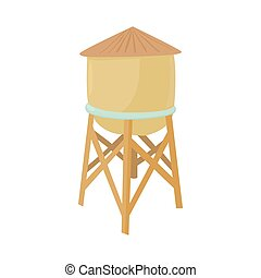 Water tower icon in cartoon style