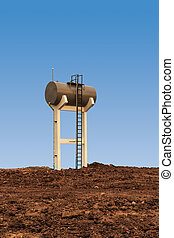 Water tower on a blue background.