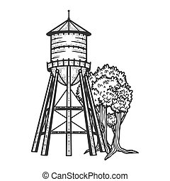 Water tower sketch engraving vector illustration. T-shirt ...