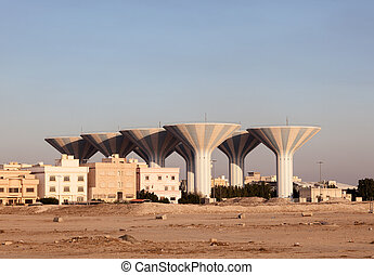 Water towers in Dahiya Abdullah Mubarak. Kuwait, Middle East
