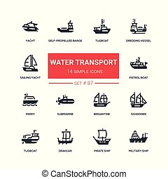 Water transport - flat design style icons set