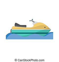 Water transport scooter, jet ski boat. Vector flat cartoon...