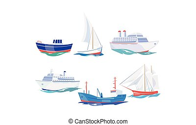 Water transport set, yacht, boat, cargo ship, steamship, fishing boat, cruise ship vector Illustration on a white background