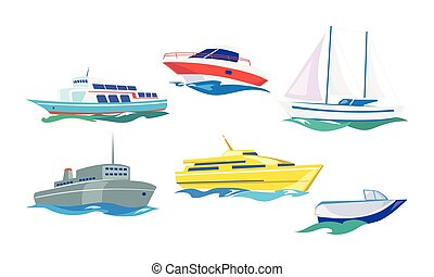 Water transport set, yacht, motorboat, steamship, fishing boat, ship vector Illustration on a white background