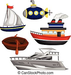 Water Transportation Vector Set