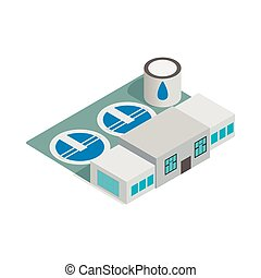 Water treatment building icon, isometric 3d style
