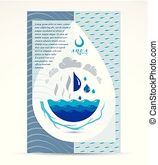 Water treatment company advertising flyer. Global water circulation conceptual design, blue planet.