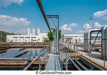 Water treatment facility with large pools of water