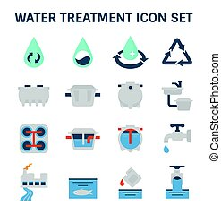water treatment icon - Water treatment plant and septic tank...