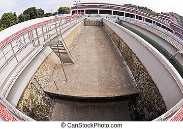 Water treatment plant - Empty sedimentation tank in a water...
