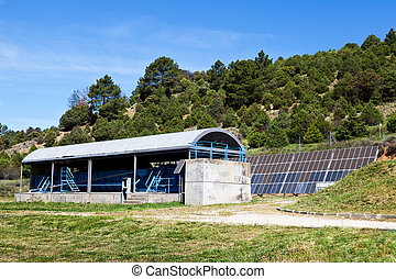 Water Treatment Plant with Solar Panels