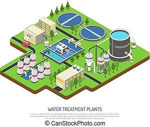 Water Treatment Plants - Water treatment plants isometric ...