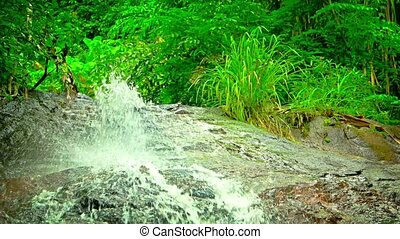 Water Tumbling and Spraying over a Natural Waterfall, with Sound