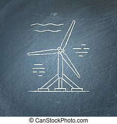 Water turbine chalkboard sketch - Tidal energy icon sketch...