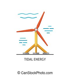Water turbine icon in flat style. - Tidal energy icon...