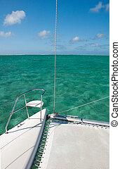water, turkoois, catamaran, detail, achtergrond