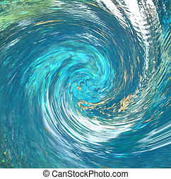 A hurricane-like abstract that suggests debris being pulled into the vortex. Partial blur indicates speed. Rendered from a photo of a natural spring.