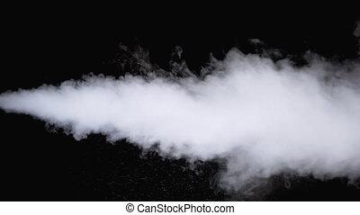Water Vapor. White Jet of Vapour Steam on Black Background. Slow Motion