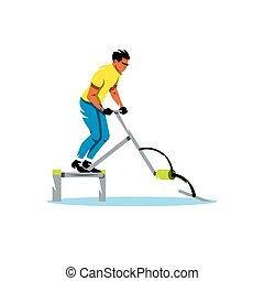 water, vector, fiets, spotprent, illustration.