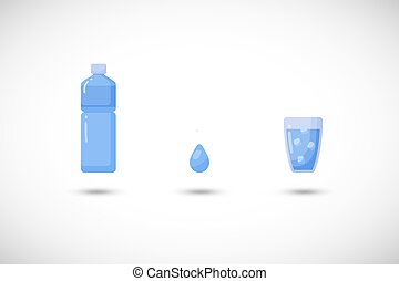 Water vector flat icon set