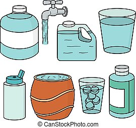 water, vector, set