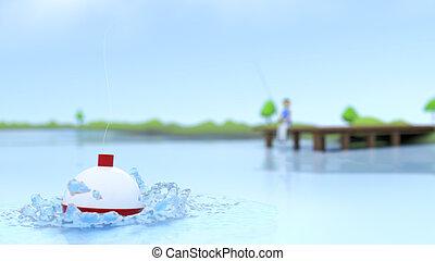 Water Viewpoint Fishing Scene