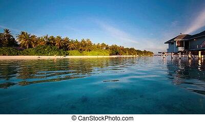 water villas on tropical island