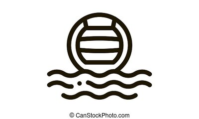 Water Volleyball Icon Animation. black Water Volleyball animated icon on white background