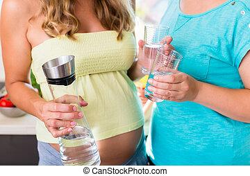 water, vriendin, drinkt, vrouw, zwangere