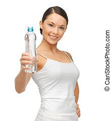 water, vrouw, fles