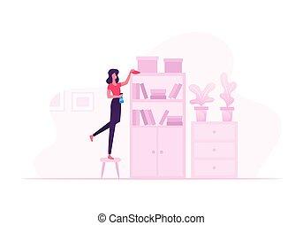 water, vrouw, planken, stofdoek, huisvrouw, sprayer., het wissen, boek, poetsen, thuis, weekend, meubel