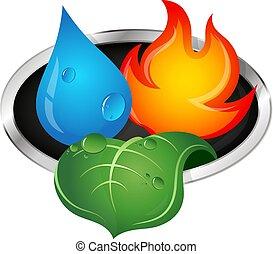 water, vuur, en, groen blad
