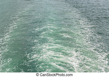 Water wake of cruise liner