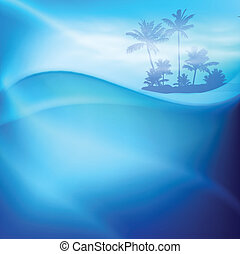Water wave and island with palm trees in sunny day. EPS10 vector.