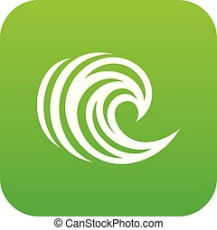 Water wave icon green vector