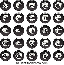 Water wave icons set vetor black