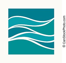 Water Wave Logo abstract design. Square aqua icon. - Water...