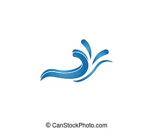 Water wave splash icon logo vector