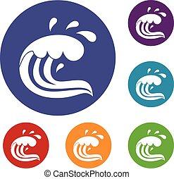 Water wave splash icons set