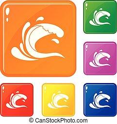 Water wave splash icons set vector color
