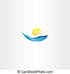 water wave sun tourism logo sign