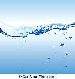 Water Wave With Bubbles, editable vector illustration